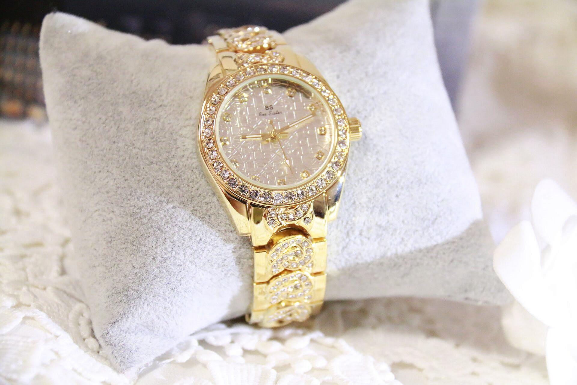 BS марка FA1277 Кристалл Алмаза Прокатки Браслет женские Часы Люксовый Бренд Модные Женские Часы Женщины Кварцевые часы Часы
