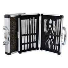 天艺牌精品古典纹铝盒装14件套修脚刀+指甲刀套?#25226;?#24030;三把刀