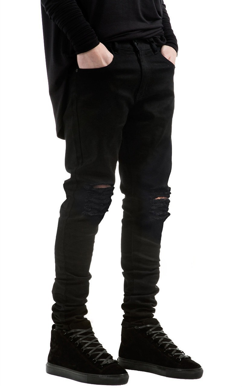 Mens Ripped Biker Jeans Motorcycle Slim Fit Washed Pants Black ...