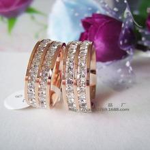 歐美時尚雙排鑽滿鑲鑽閃鑽戒指鈦鋼18K玫瑰金對戒指環