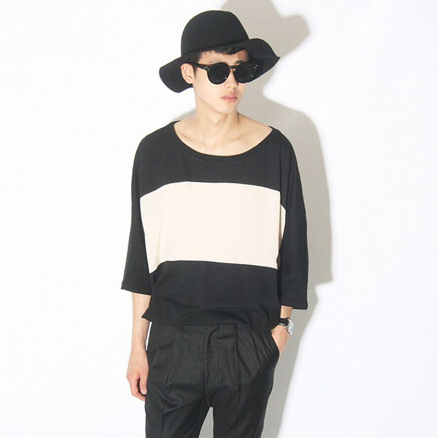 2018新款 韓版黑白拼色 時尚休閑非主流寬松男式短袖t恤加大碼