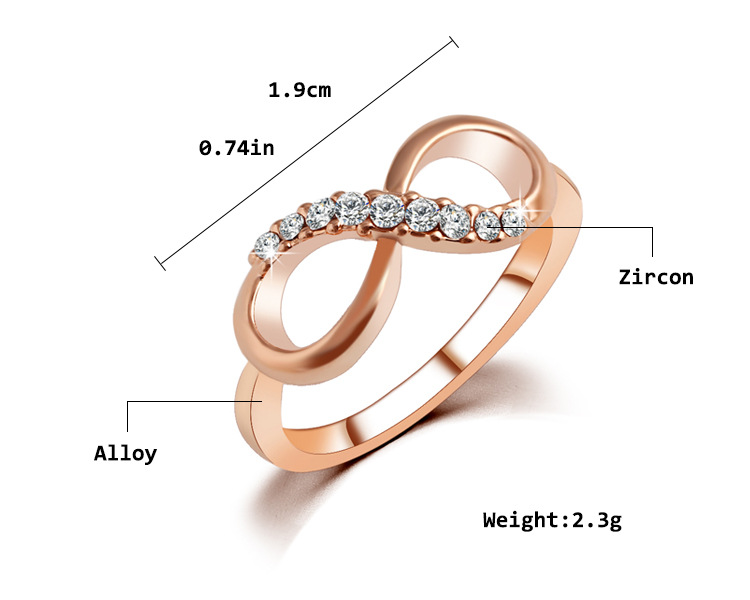 Fashion inverted 8 word crystal zircon metal band diamond ring simple ring jewelry women NHPJ199622