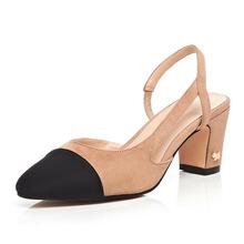 鞋2019 women夏季新款明星款百搭粗跟单鞋女拼色中跟鞋真皮女鞋