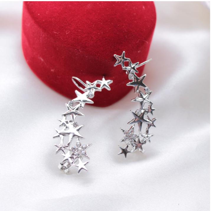 G362韩版热卖五角星耳夹 长款镶钻星星无洞耳骨夹 一对价