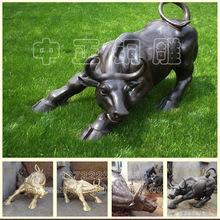 动物雕塑 铜牛定做厂家 精美工艺品铜牛雕塑  铜铸开荒牛