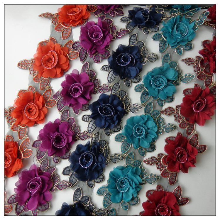 立体雪纺花朵刺绣 电脑绣花 车骨花边 服饰DIY材料直销 一码8.5朵