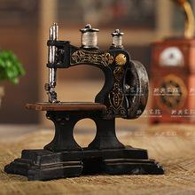 复古做旧缝纫机模型装饰摆件树脂工艺品 店面橱窗陈列