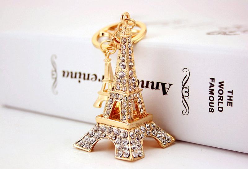 Korean full diamond Eiffel Tower women's bag metal pendant accessories key chain NHAK247579