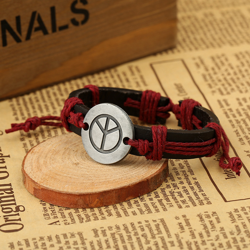 Leather Fashion Geometric bracelet  Black line NHPK1278Black line