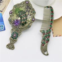 新款俄罗斯孔雀折叠手柄镜彩绘梳妆镜复古锡铜镜子3D化妆镜包邮