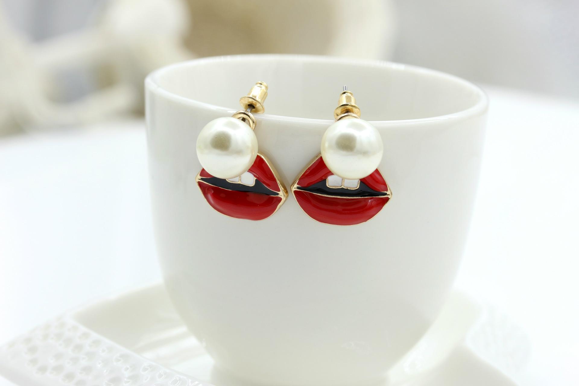 Eye and lip back hanging pearl stud earrings NHDP154494