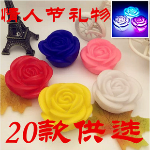 A061【Manufacturer supply】Colorful night light with roses, a gift for Valentine's Day(Multi-color for selection)
