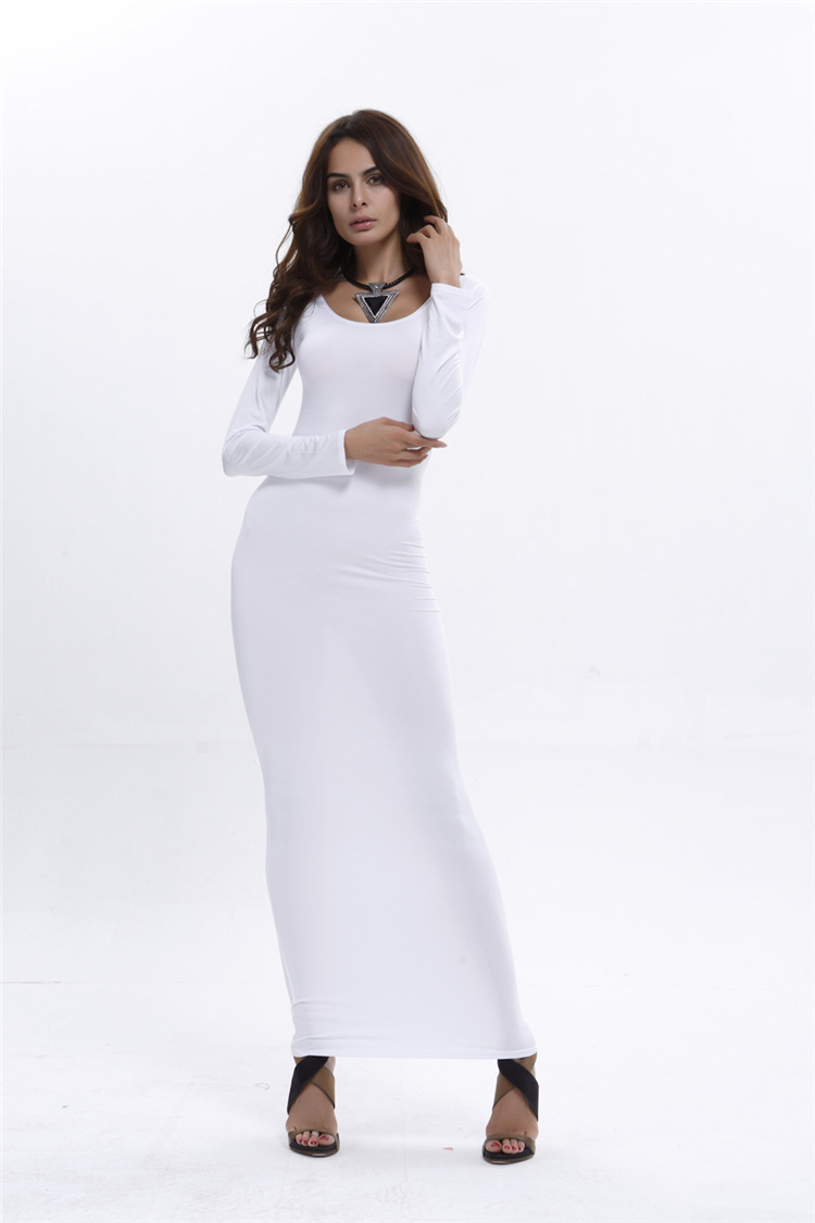 Polyester Fashiondress(White-S) NHDF0336-White-S