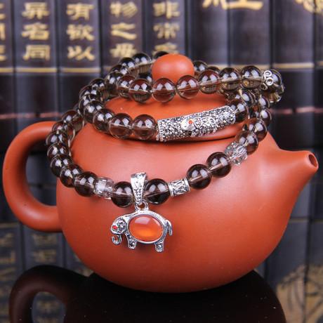 Tinh thể trà vòng tay Jixiang Trà tự nhiên pha lê khuyến mãi bán buôn khói pha lê nhiều vòng tròn nguồn vi thương mại