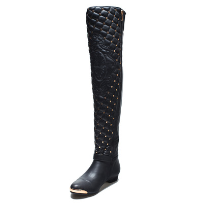 【MOQ 10】Europe and the United States women's shoes knee-high boots metal lattice rivet head low heel boots's main photo