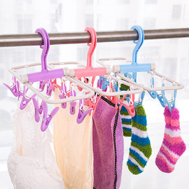 1879 Portable collapsible plastic hanger Multifunctional windproof drying rack Underwear socks drying rack