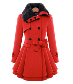 Europe and the United States Slim long woolen coat double-breasted thickening large swing coat to send belt fur collar