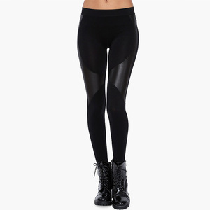 Europe and the United States POP style cultivate one's morality show thin PU stitching tight black leggings