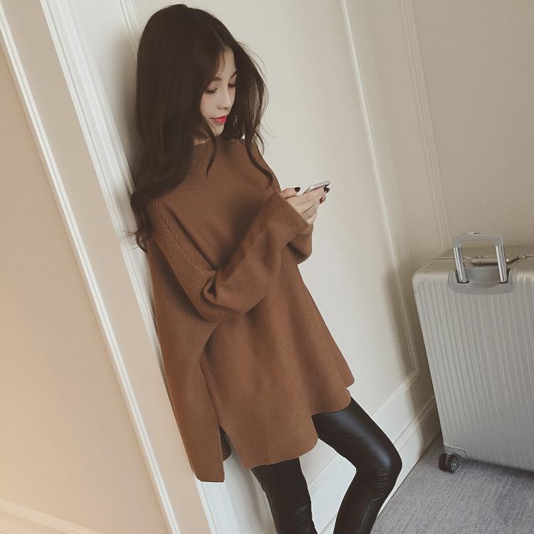 2020秋冬新款女装韩版中长款宽松慵懒套头蝙蝠袖半高领针织毛衣女