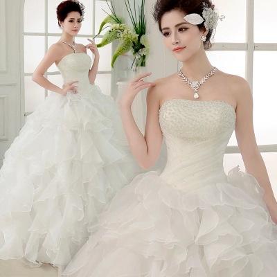 婚纱礼服新款2020时尚抹胸婚纱韩版韩式齐地绑带甜美新娘婚纱礼服