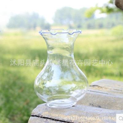 批发供应透明水培瓶 波浪花边塑料花瓶 高款 水培风信子专用花瓶