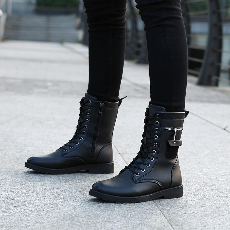 2018新款男靴秋冬季韩版潮流皮靴子青少年运动学生军靴中筒马丁靴