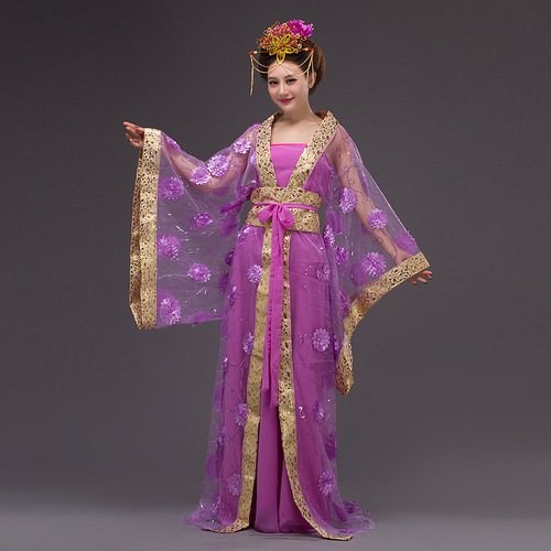 Chinese Folk Dance Dress Special sale of ancient Tang imperial concubine Hanfu red seven fairy dress flower color yarn performance studio tailing