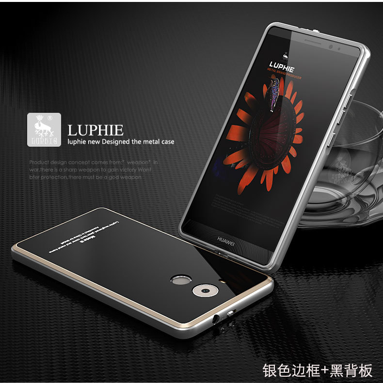 Luphie Aircraft Aluminum Metal Frame 9H Tempered Glass Back Cover Case for Huawei Mate 8
