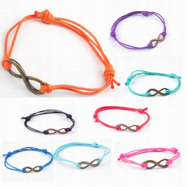 European and American hand decoration 8-character rope retro bracelet alloy-plated digital simple fashion winding knotted hand rope 1.0MM