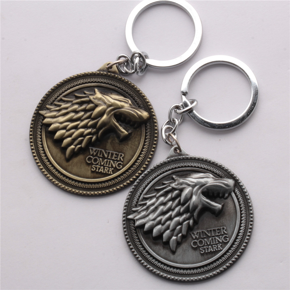 HBO Game of Thrones House Stark Logo Keychain Winter Is Coming 3D ... 992236b5e367