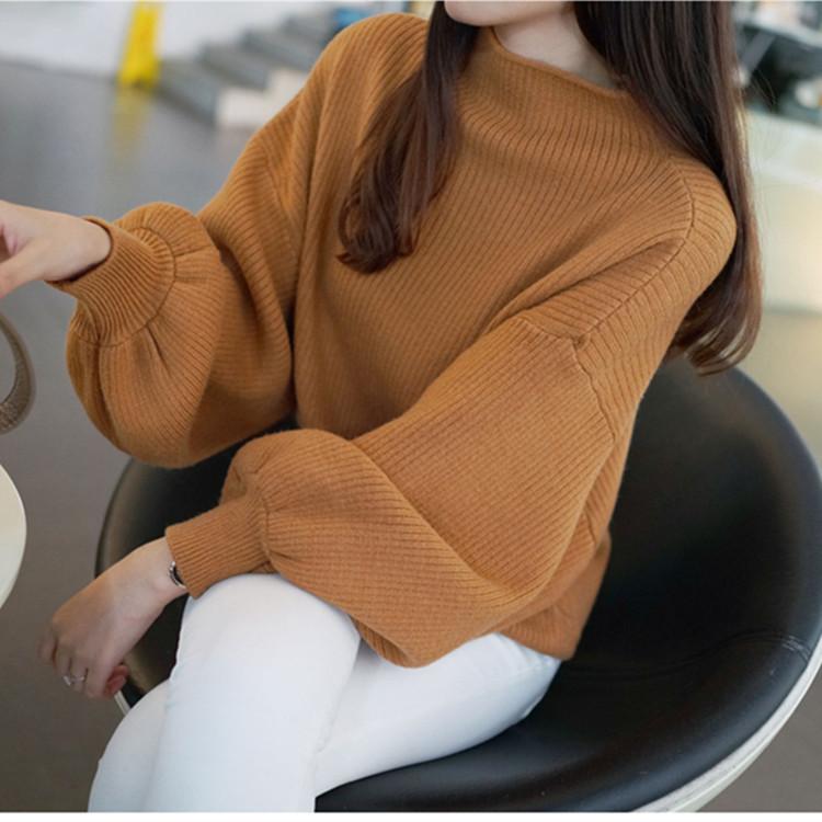秋冬新款韩版纯色毛衣 女式针织衫 宽松蝙蝠衫套头灯笼袖 毛衣女