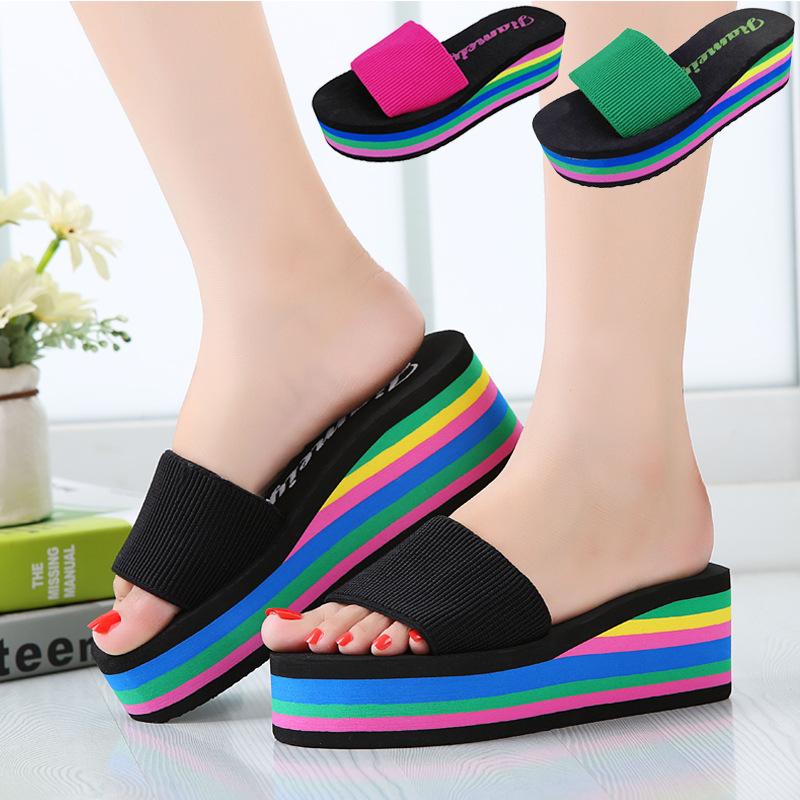 2021夏季女鞋新款韩版一字拖厚底高跟彩虹松糕坡跟凉鞋女式拖鞋