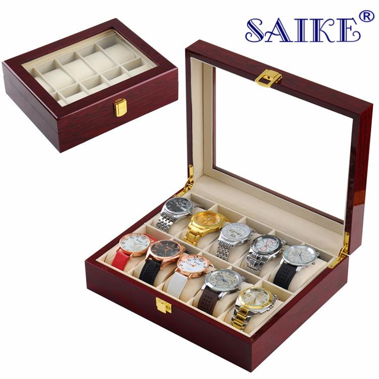 厂家现货批发10位钢琴漆手表盒手表收纳盒木质手表盒子手表展示盒