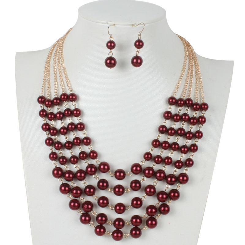 Occident and the United States pearlnecklace (Dark red)NHCT0062-Dark red