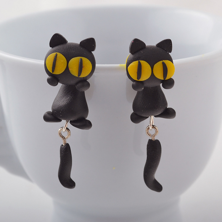 Soft ceramic earrings handmade earrings cartoon soft ceramic kitten earrings NHGY187740