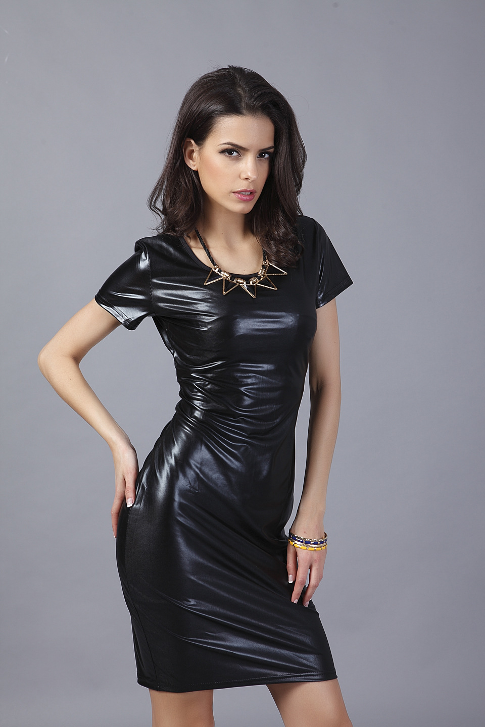 Polyester Fashiondress(Black-S) NHDF0238-Black-S