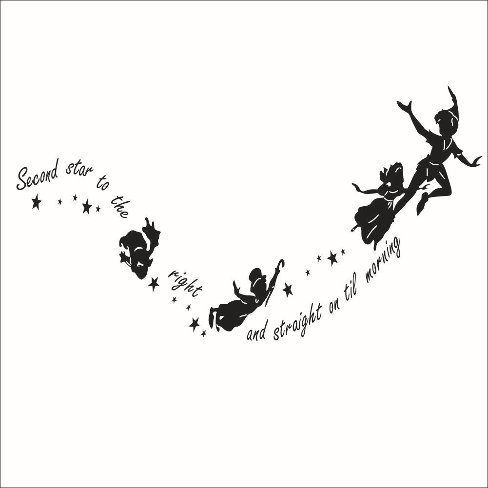 Black And White Peter Pan Flying Elves Home Decor Wall