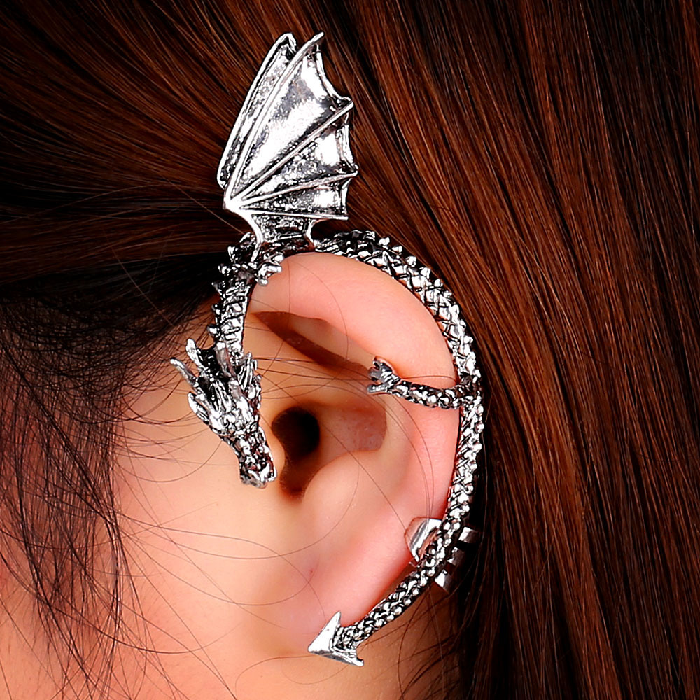 Details About Women S Dragon Ear Cuff Clip Wrap Lure Stud Earring No Hole Gothic Punk Gift