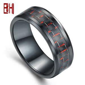 直销时尚简约韩版情侣戒指钨钢戒指 男士太空陶瓷食指戒指 复古
