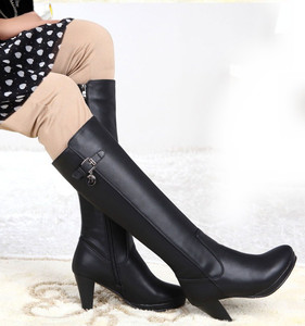 Classic star boots tall canister boots knight thick heels waterproof leather boots
