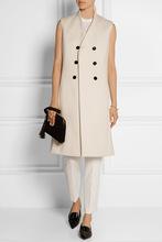 秋冬新品 欧美双排扣简约气质羊绒大衣长款修身马夹外套女