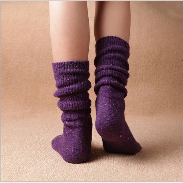 快适靴下秋冬新品女袜 冬季加厚保暖彩点纱羊毛袜复古堆堆女袜