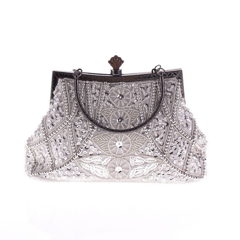 Vintage heavy craft beaded embroidered bag evening wear portable evening bag NHYG146464