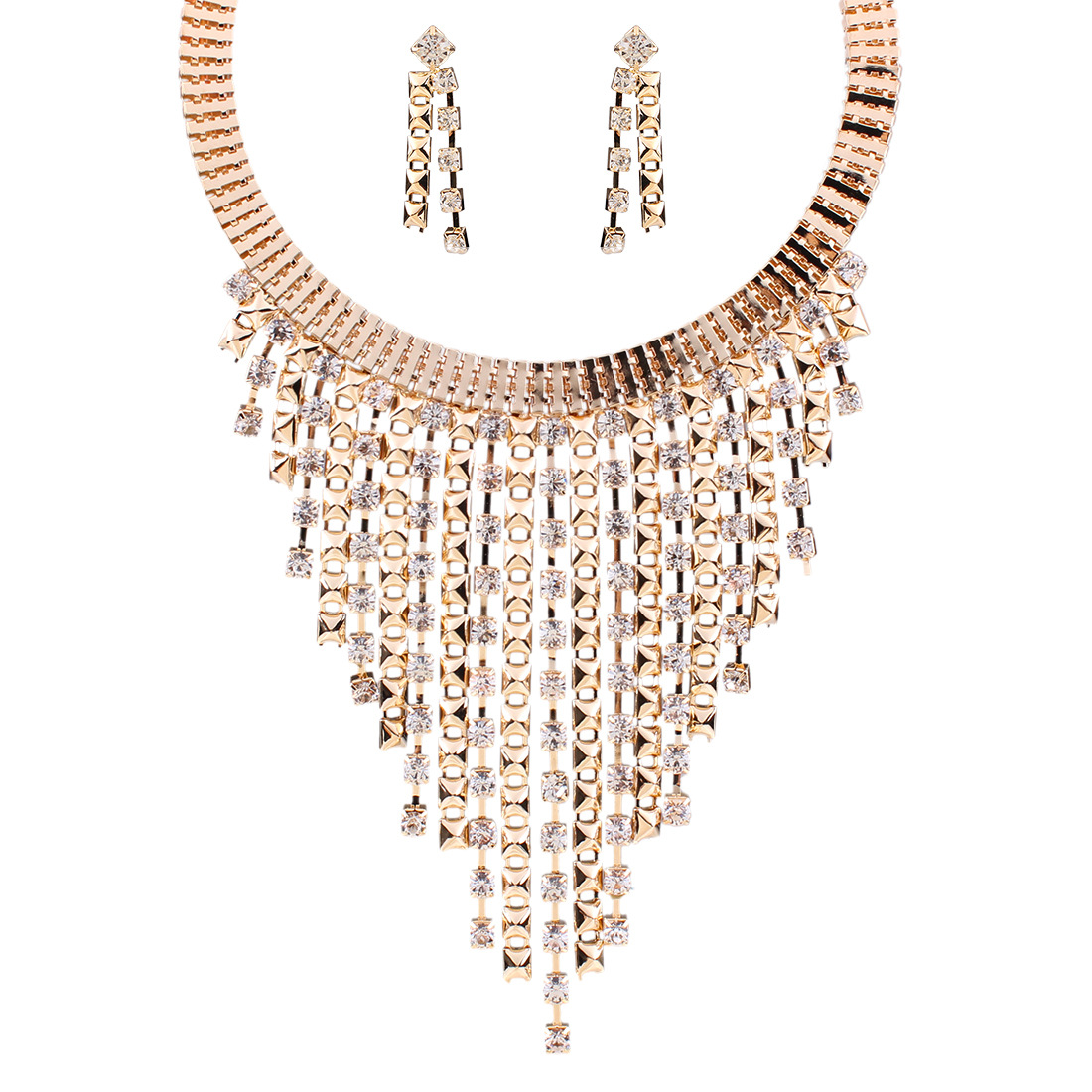 Occident fashion multilayer tassel rhinestone necklace Earring Sets  Photo Color  NHNMD1065
