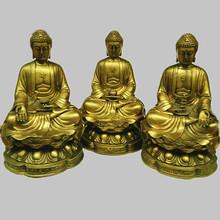 開光純銅三世佛像三寶佛擺件大號阿彌陀佛藥師佛釋迦牟尼工藝品