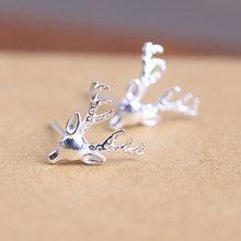 925纯银耳钉批发 素银鹿头耳饰 圣诞节新年礼物 可爱动物8573