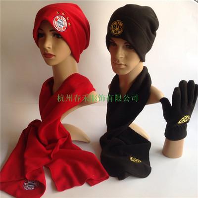 供应厂家直销 秋冬季男女式 运动抓绒摇粒绒 帽子围巾手套三件套