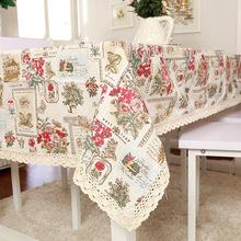歐美印花復古花朵蕾絲花邊桌布茶幾臺布餐桌布蓋巾一件代發