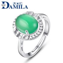 达米拉S925纯银手饰女气质简约玛玉髓芙蓉石戒指淘宝代发 证书