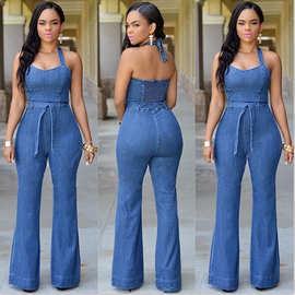 2015 速卖通 性感热销时尚牛仔裤 女装修身休闲连体裤 含腰带